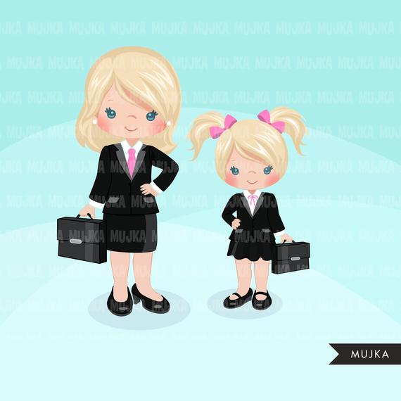 Girl boss little entrepreneur clipart. Cute boss mother.