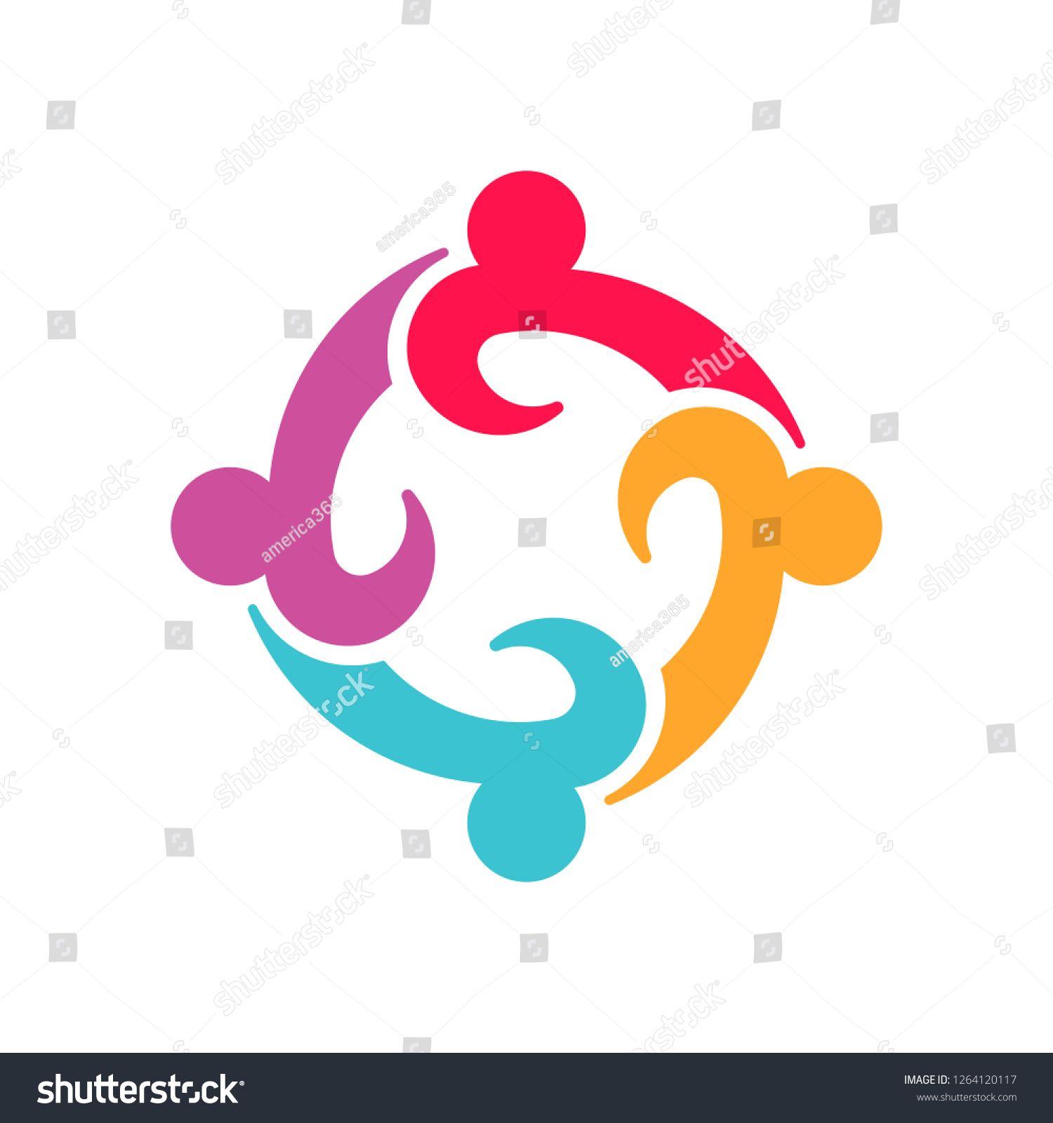 Four Entrepreneurs teamwork people logo design #team #people.