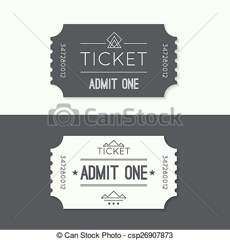 Vectors Illustration of Entry ticket to old vintage style. hipster.