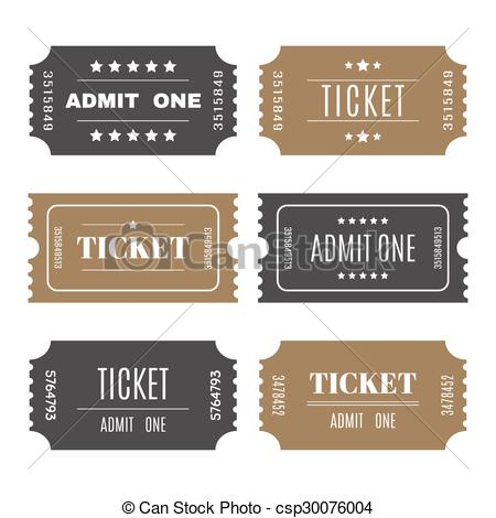 Vector Clipart of Paper tickets with numbers. Set of vector.