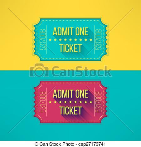 EPS Vector of Entry ticket in modern flat design with long shadow.