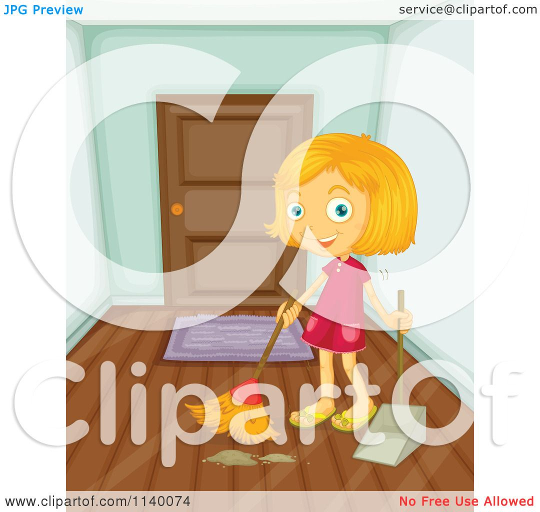 Cartoon Of A Happy Blond Girl Sweeping An Entry Way.