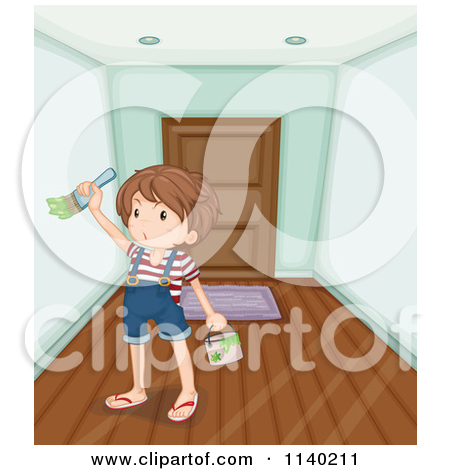 Cartoon Of A Boy Painting An Entry Way.