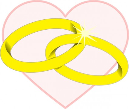 Entwined wedding rings clipart.