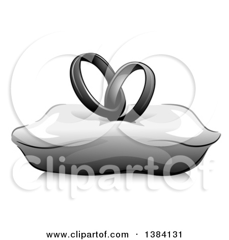 Clipart of a Grayscale Pair of Entwined Wedding Band Rings on a.