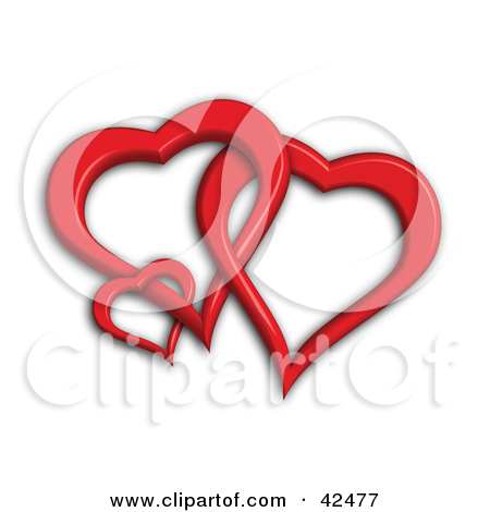 Clipart Illustration of Three Entwined 3d Red Hearts by.