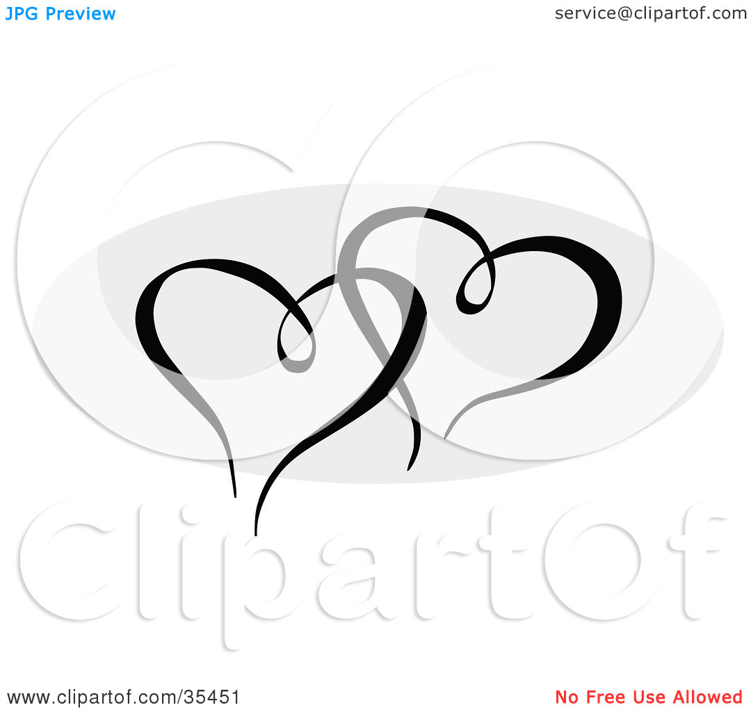 Clipart Illustration of Two Black Hearts Entwined Over A Gray Oval.
