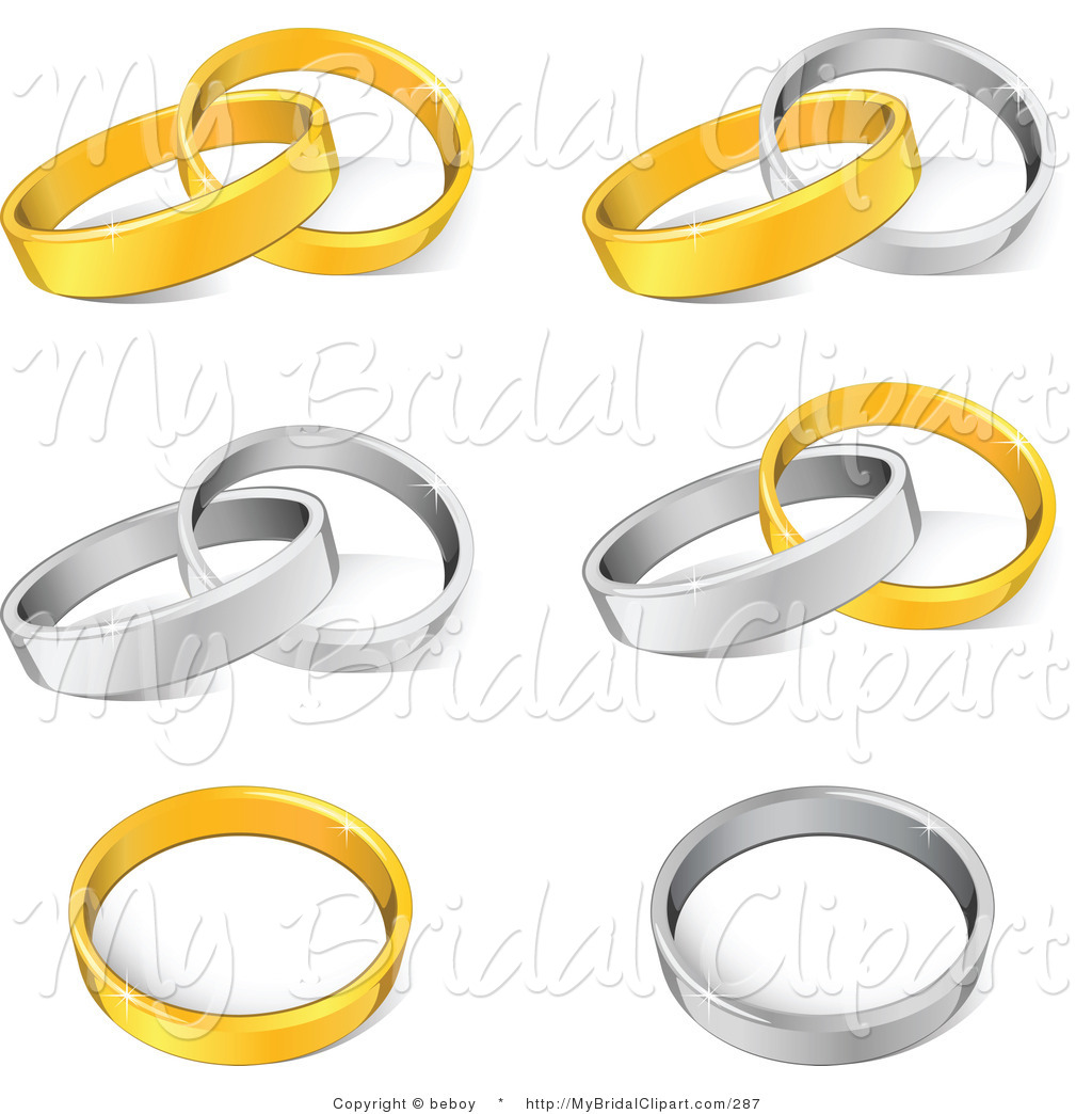 Wedding rings entwined clipart.