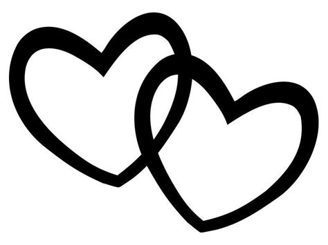 Heart Silhouettes, Double Heart Clip Art Silhouette.