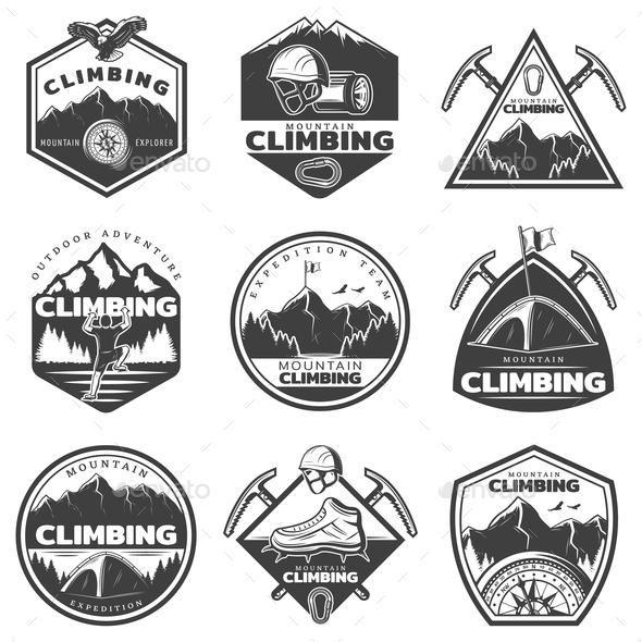 Vintage Monochrome Mountain Climbing Labels Set for $8.