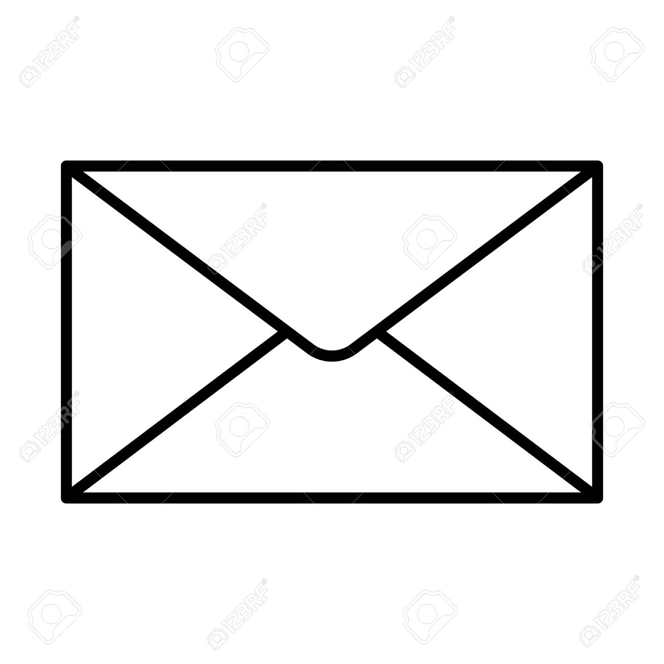 Closed envelope icon black contour on a white background of vector...