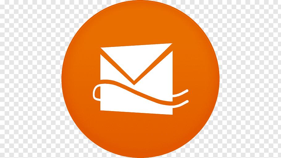 Round white and orange envelope logo, area symbol orange.
