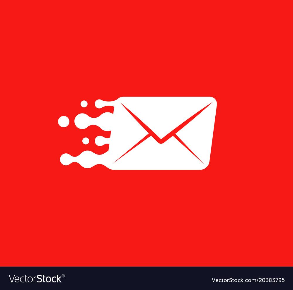White post envelope logo concept on red.