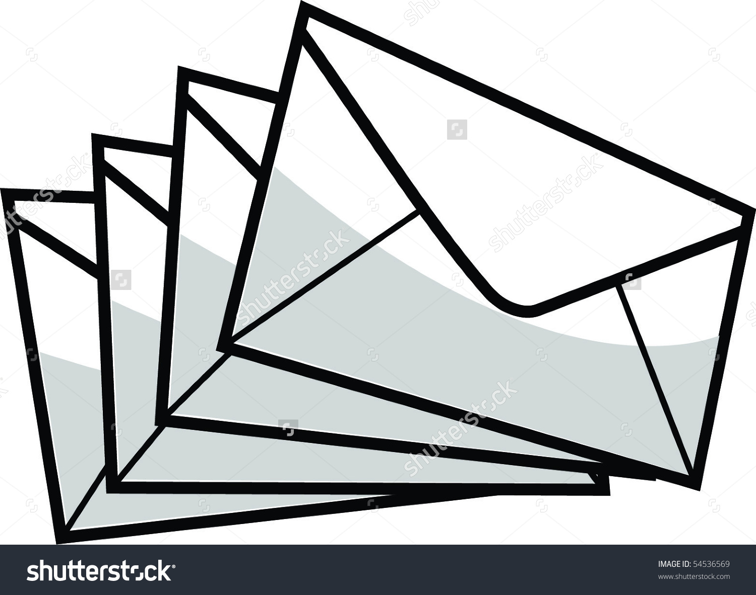 Pile Closed Envelopes Vector Image Stock Vector 54536569.