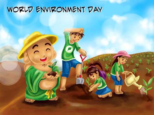 Kids Celebrating World Environment Day Clipart.