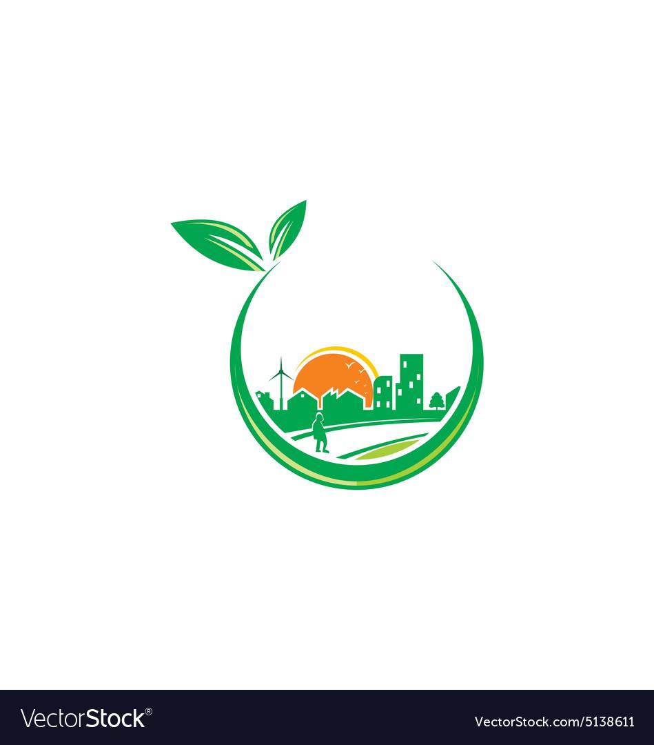 Green town urban city environment logo.