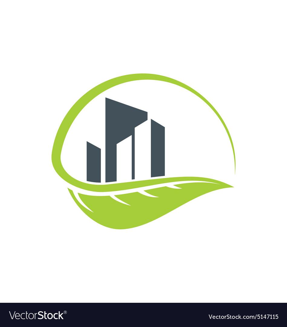 Green leaf cityscape building environment logo.