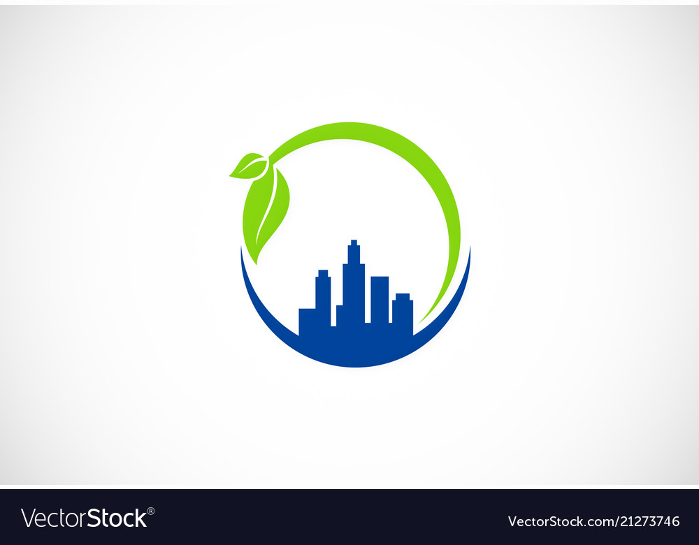 Cityscape green environment logo.