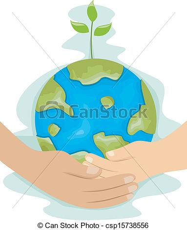 Clipart Vector of Teaching Kids Environmental Protection.