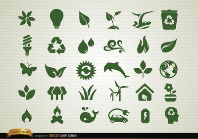 Environmental awareness icons set, Clip Arts.