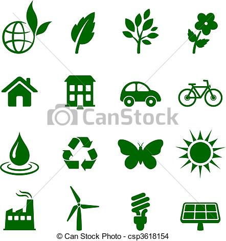 EPS Vector of environment elements icon set.