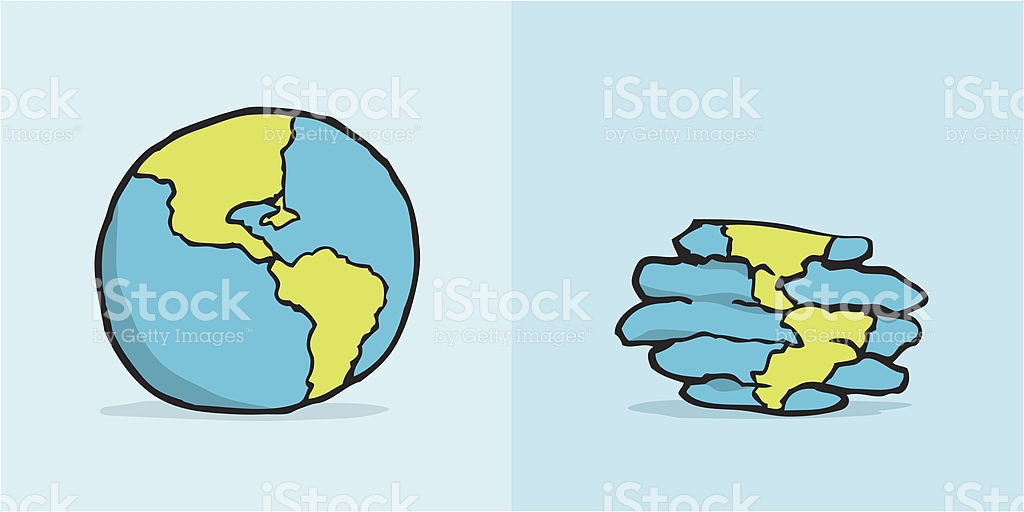 Earth Before And After Environmental Damage stock vector art.