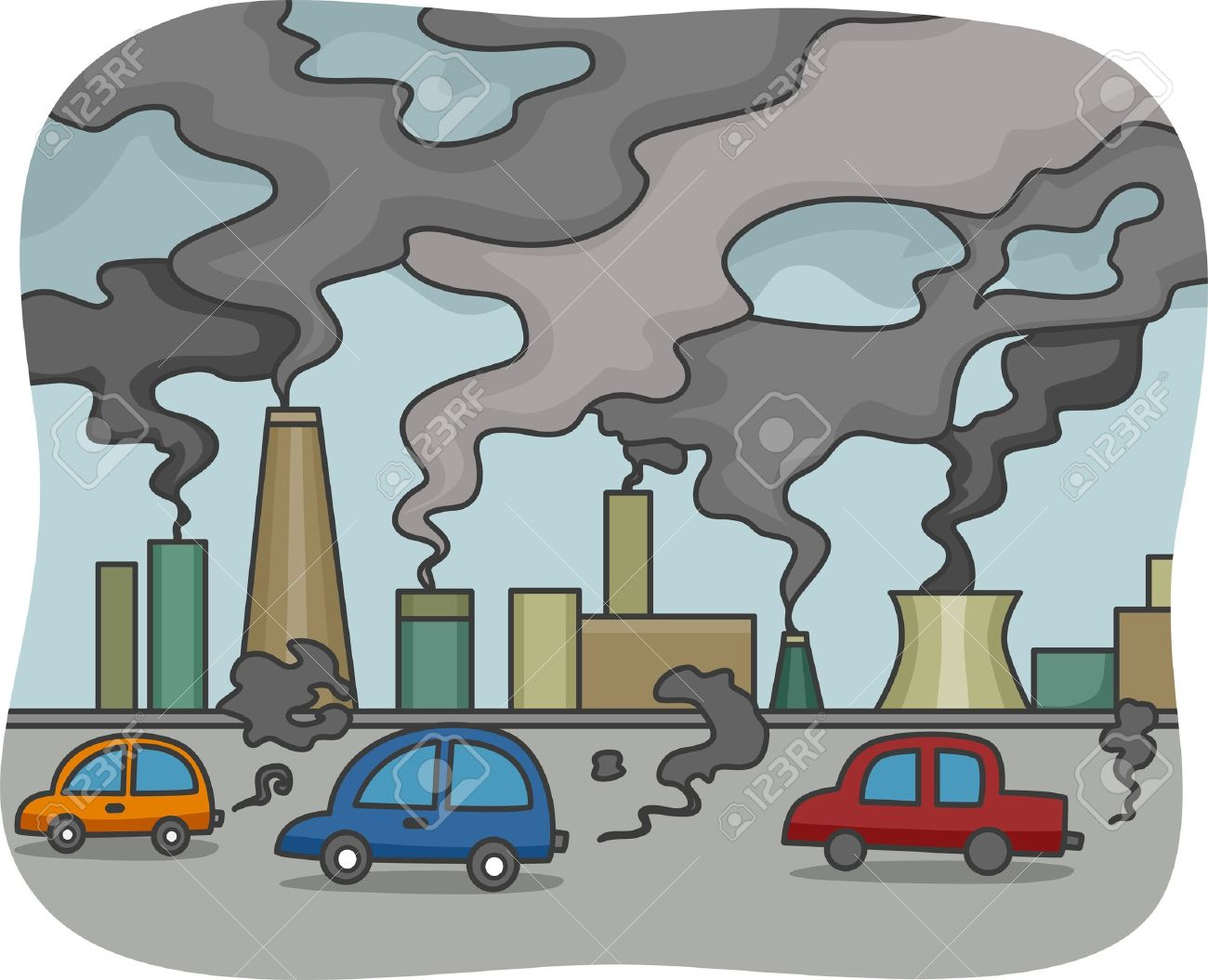 Cause of air pollution clipart.