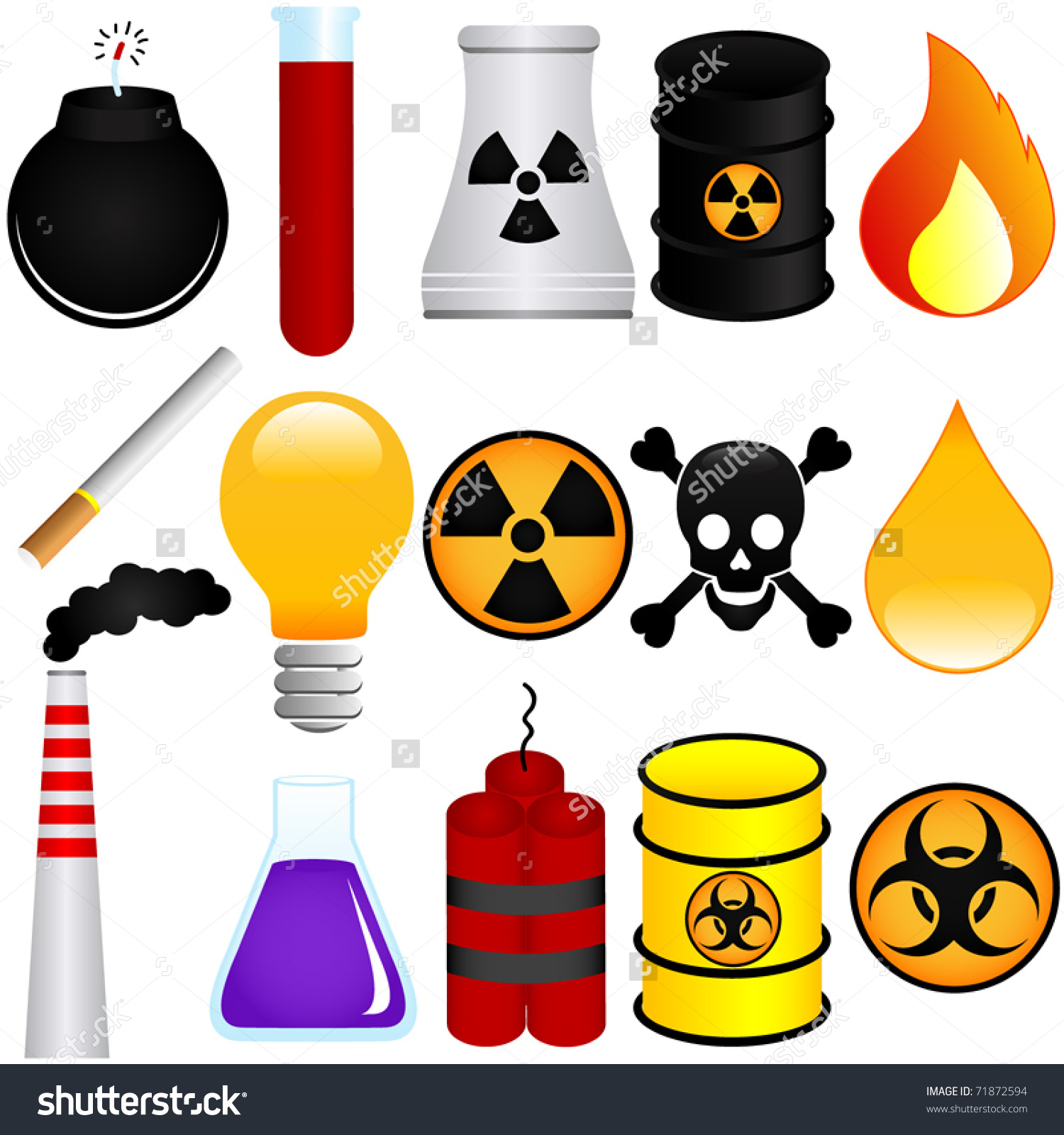 Vector Dangerous Poison Explosive Chemical Pollution Stock Vector.
