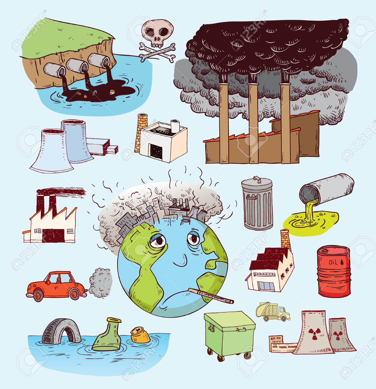 Pollution Doodle, Vector Royalty Free Cliparts, Vectors, And Stock.