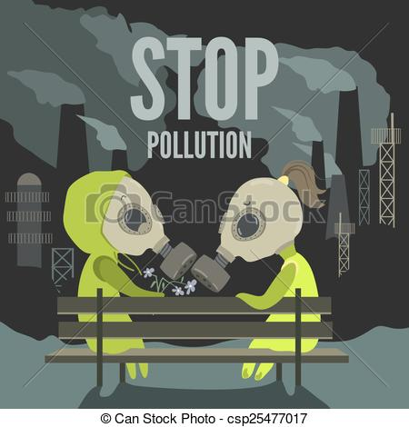 Vector Clip Art of Couple in dirty environment.