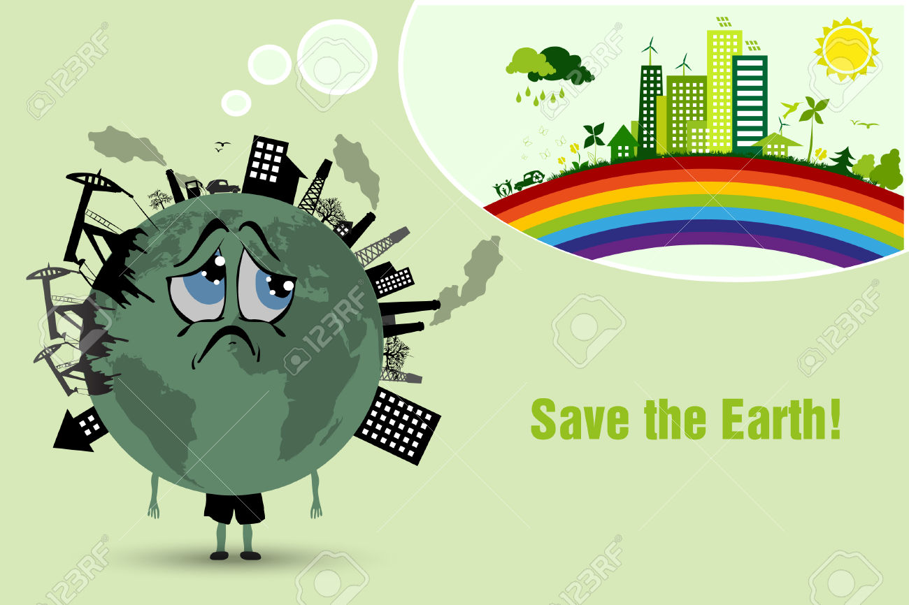 Conserve The Earth Environmental Pollution Royalty Free Cliparts.