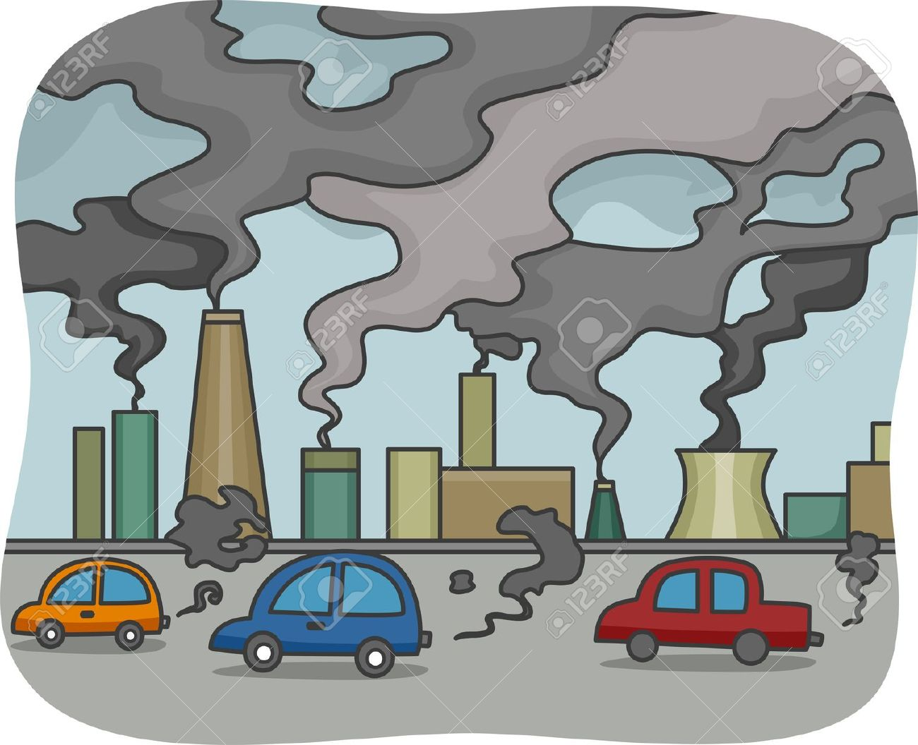 Illustration Of Air Pollution Stock Photo, Picture And Royalty.