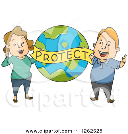 Clipart of a Happy Caucasian Couple Holding a Protect Banner over.