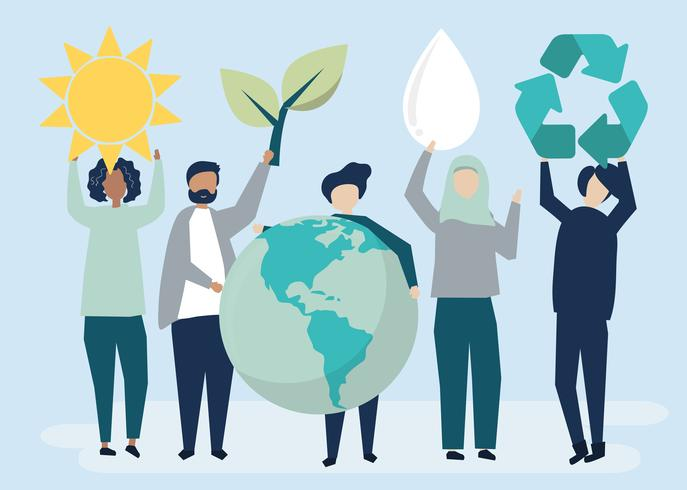 People with environmental sustainability concept.