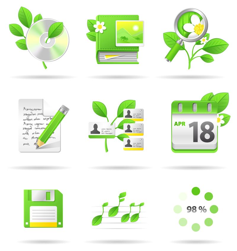 Environmental technology icon set.
