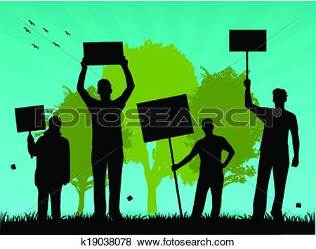 Clip Art of environmentalists protest.