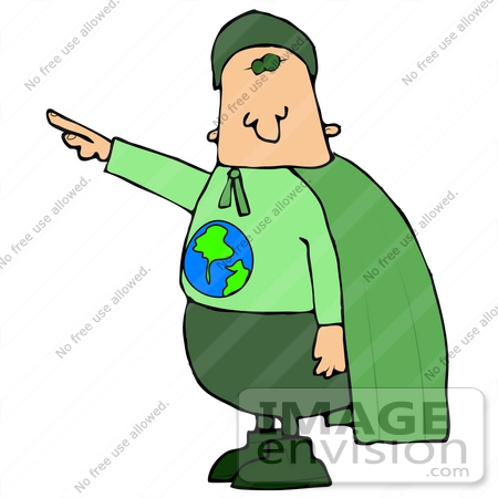 Clip Art Graphic of an Environmentalist Super Hero, Ready To Save.