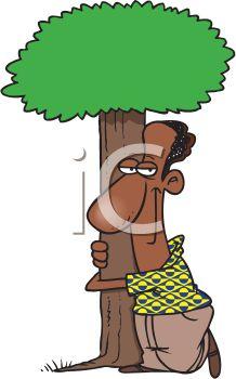 African American Tree Hugger Environmentalist.