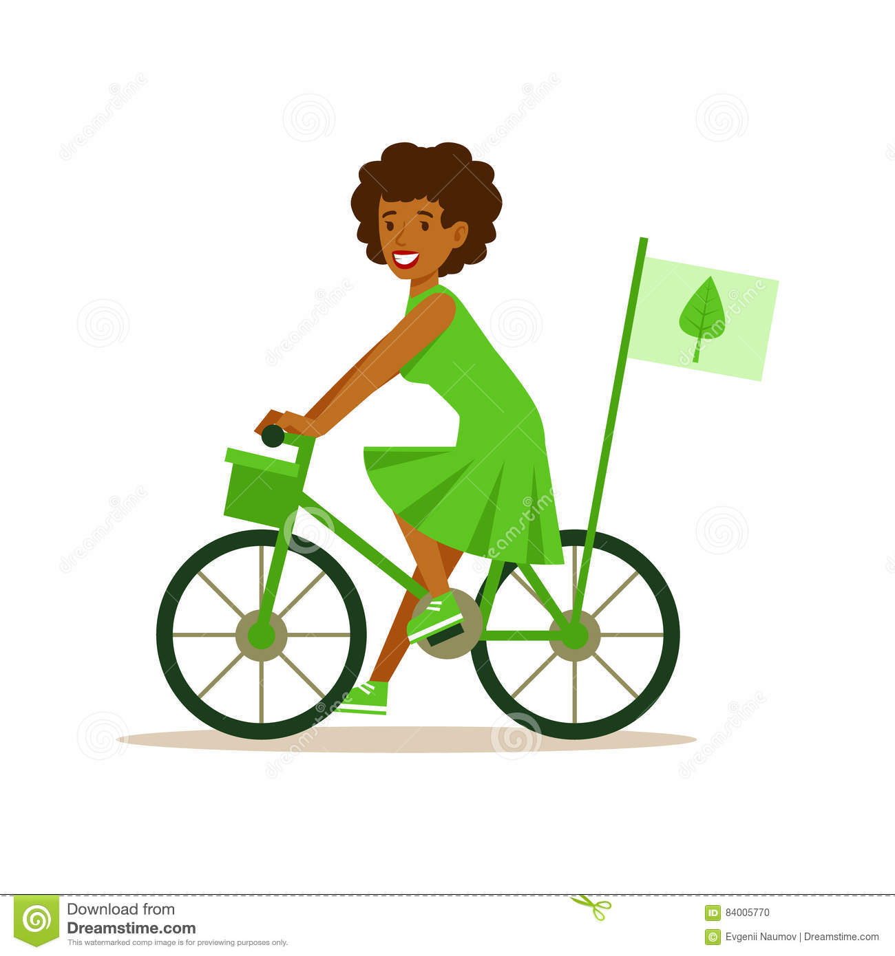 Woman On Bicycle Using Green Transportation , Contributing Into.