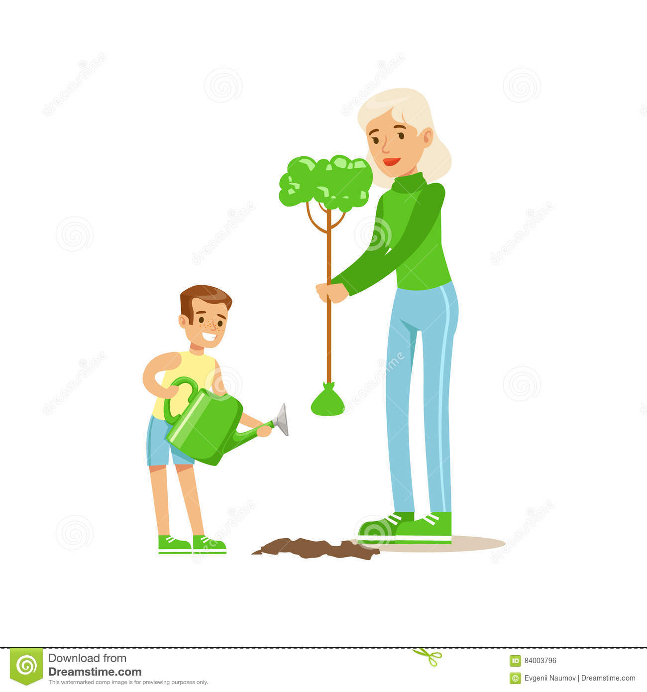 Woman Teaching Kid To Plant The Tree , Contributing Into.
