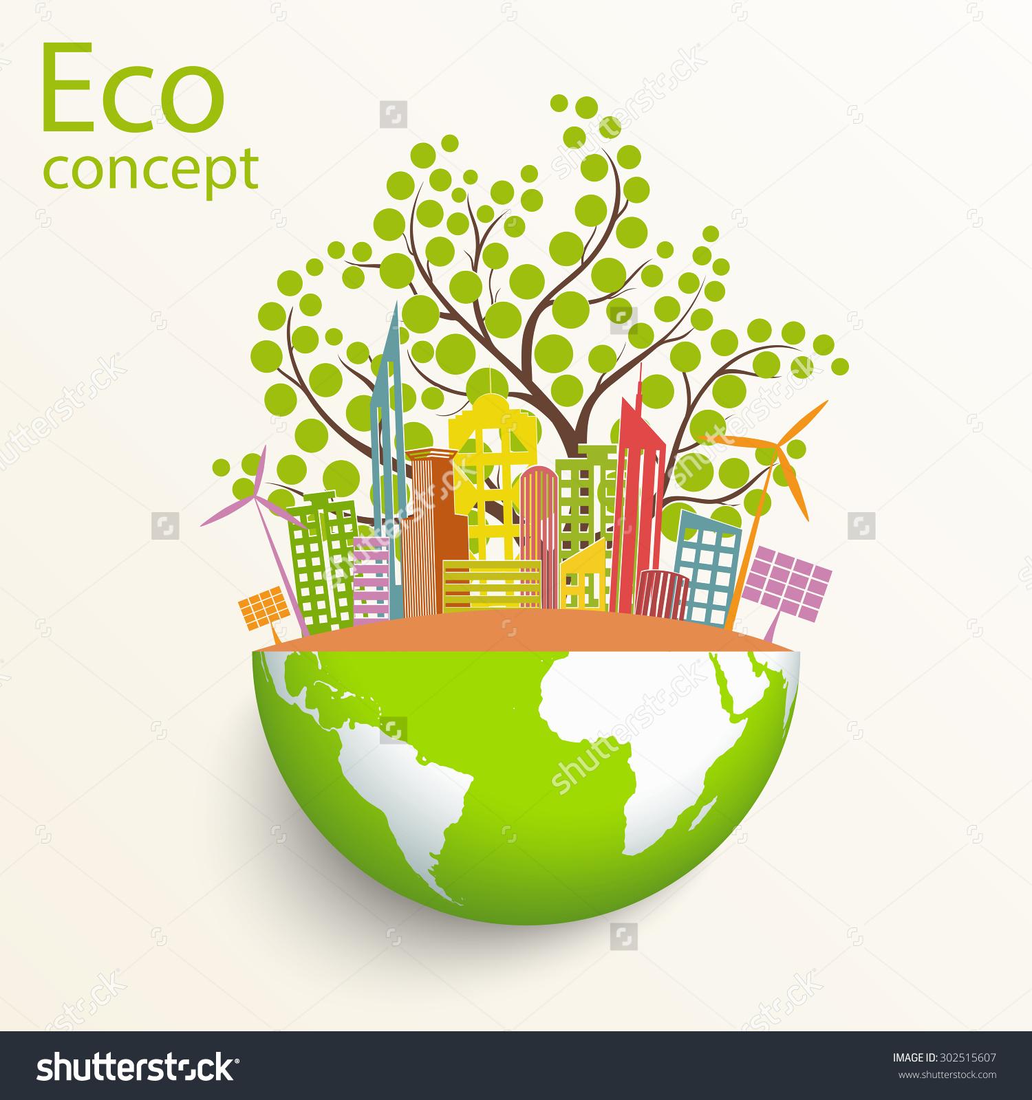 Environmentally Friendly World City Solar Panels Stock Vector.