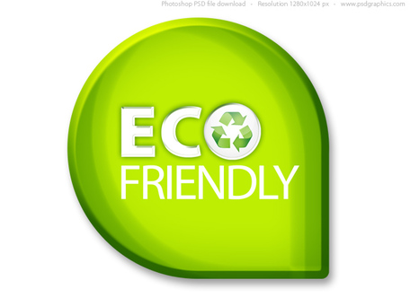 Green eco friendly sign (PSD), vector graphics.