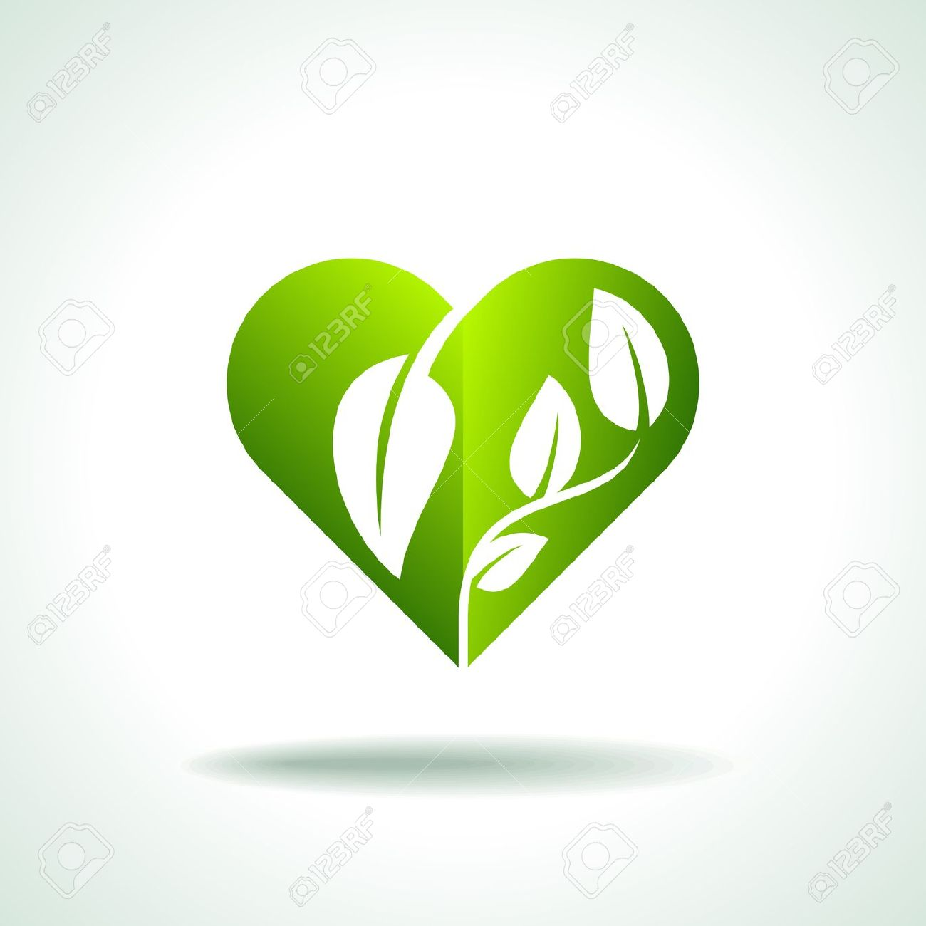 Eco Friendly Concept Heart Leaf Shape Royalty Free Cliparts.