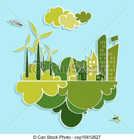 Vector Illustration of Green city renewable resources..