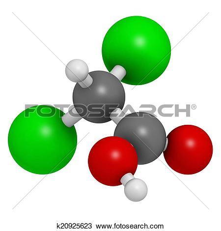 Drawing of Dichloroacetic acid (DCA). Dichloroacetate salts.