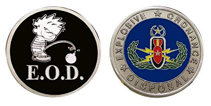 EOD Calvin Challenge Collectible Coin Logo Metal Lucky Poker Chips & Gift.