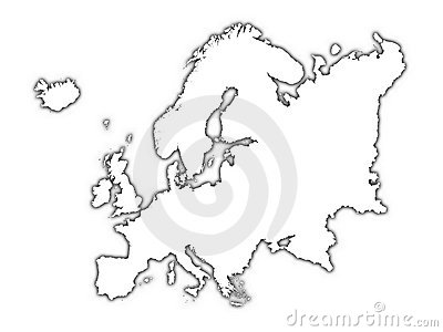 Europe Outline Map With Shadow Royalty Free Stock Image.