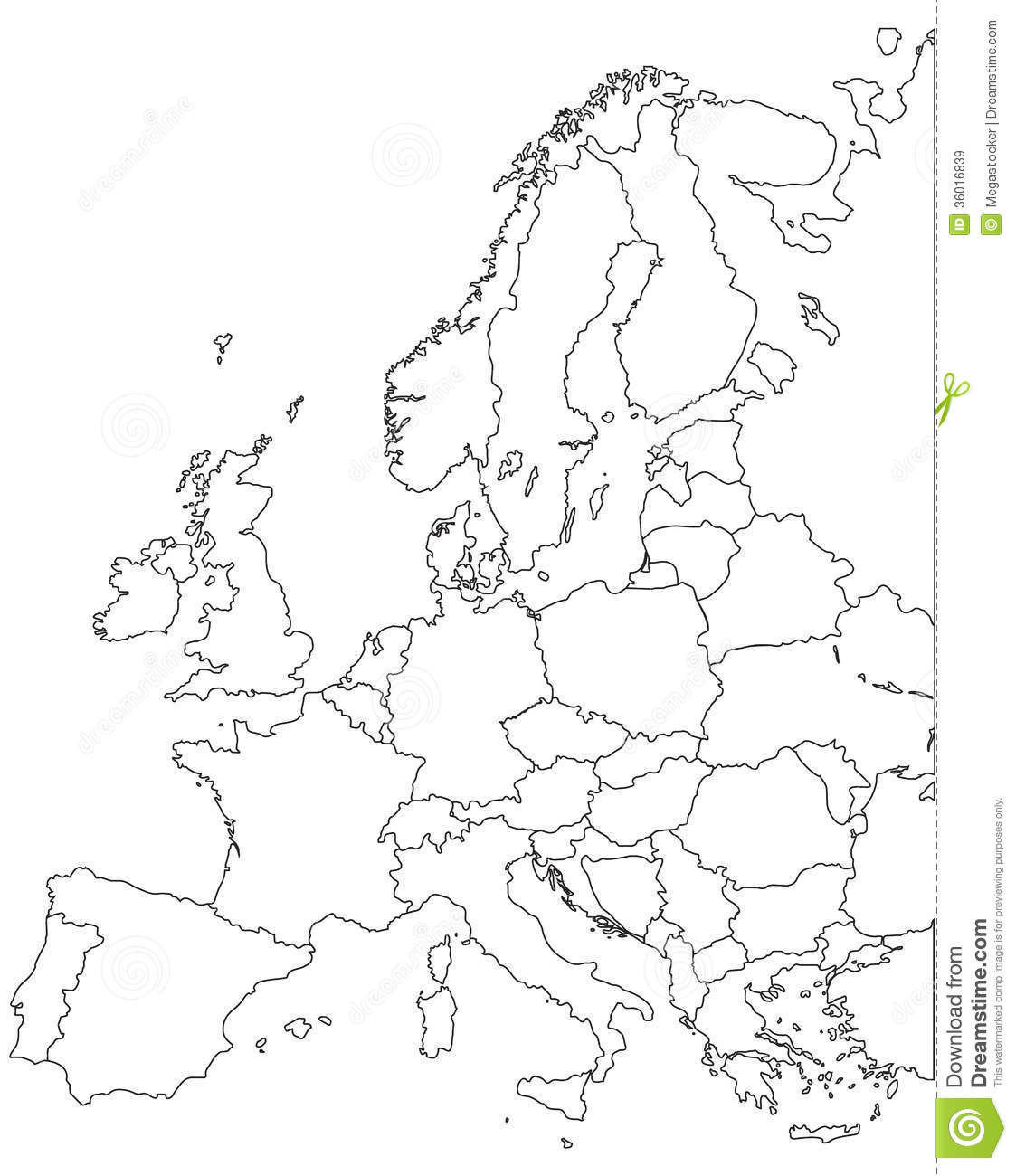 Europe Vector Map Royalty Free Stock Images.