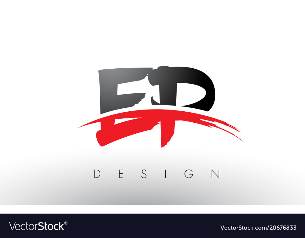 Ep e p brush logo letters with red and black.