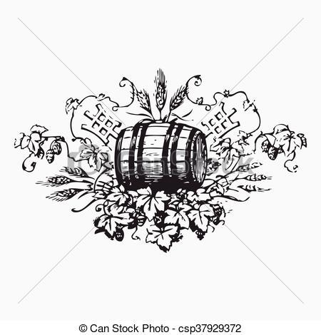 Vectors Illustration of Vintage barrel engraving, ephemeral vector.